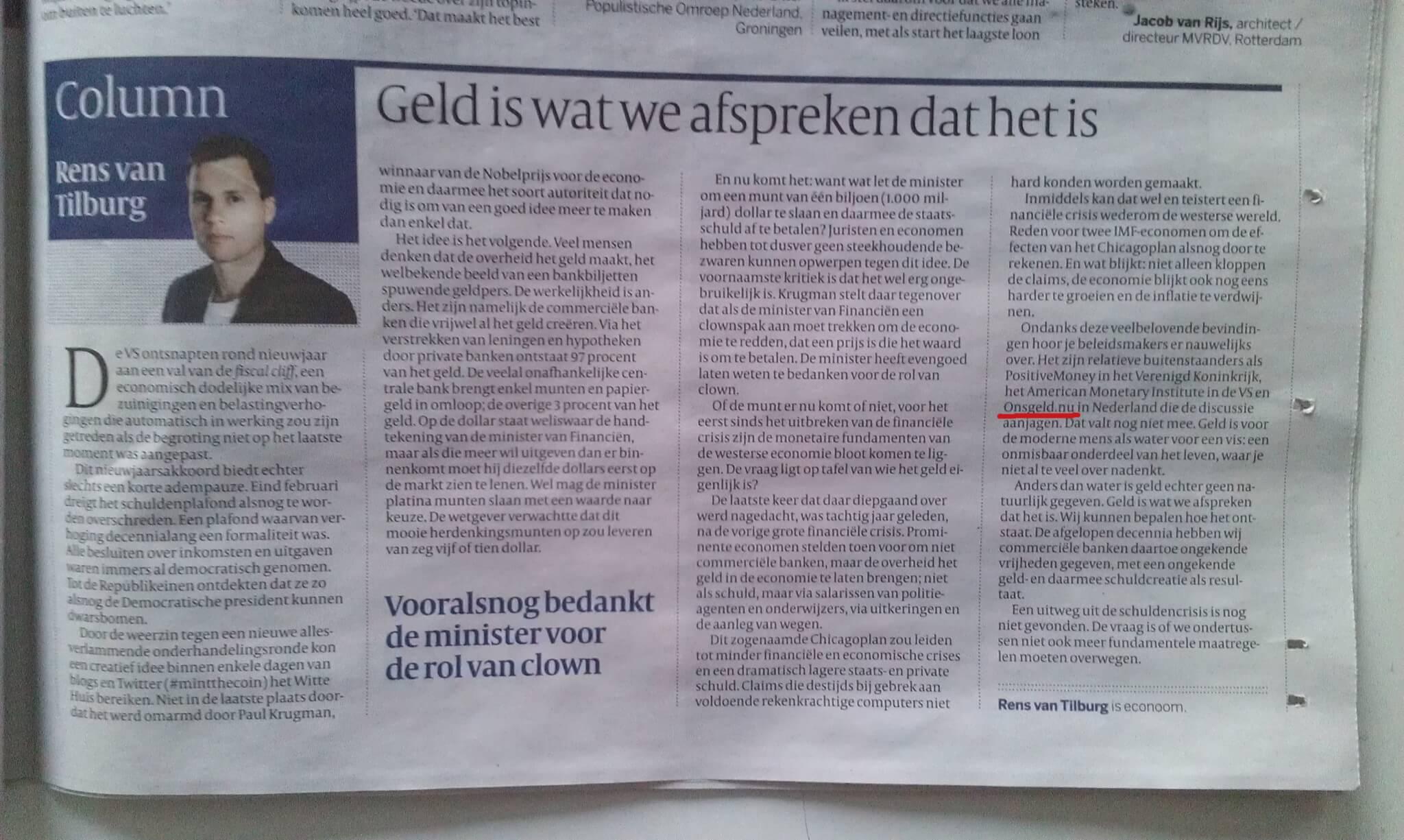foto van de column van Rens van Tilburg uit de Volkskrant - 16 januari 2013