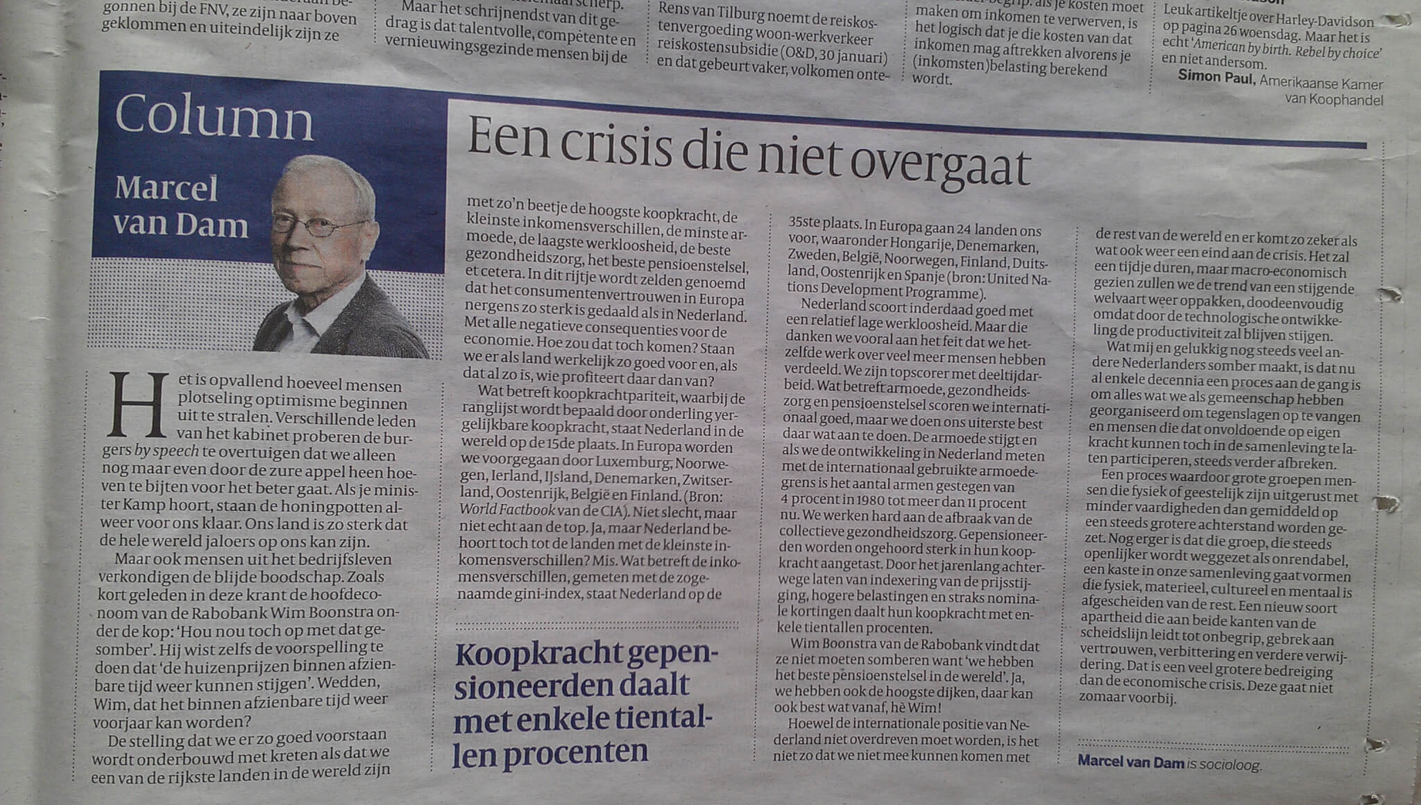 """afbeelding bericht: """"Een crisis die niet overgaat"""", Marcel van Dam, Volkskrant 31 januari 2013"""