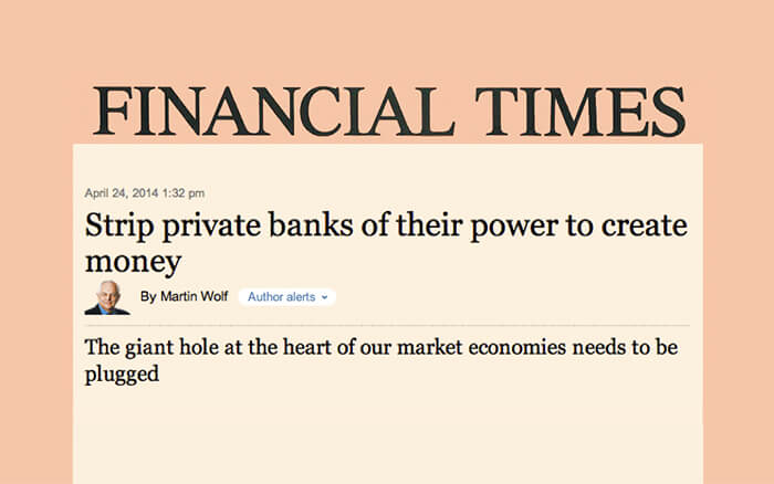 """Strip private banks of their power to create money"""